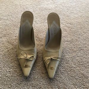 Chanel size 9 mules  beige pre owned